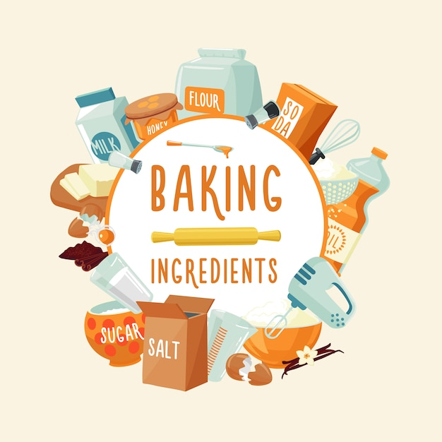 Colorful baking ingredients round concept Free Vector