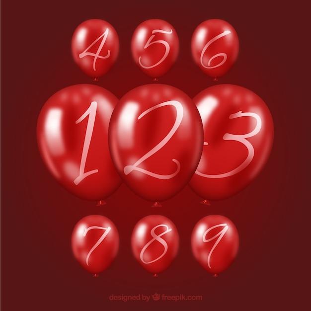 Raccolta di numeri di palloncini colorati Vettore gratuito