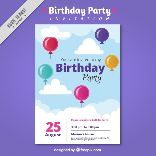Colorful balloons birthday party invitation Vector  Free Download