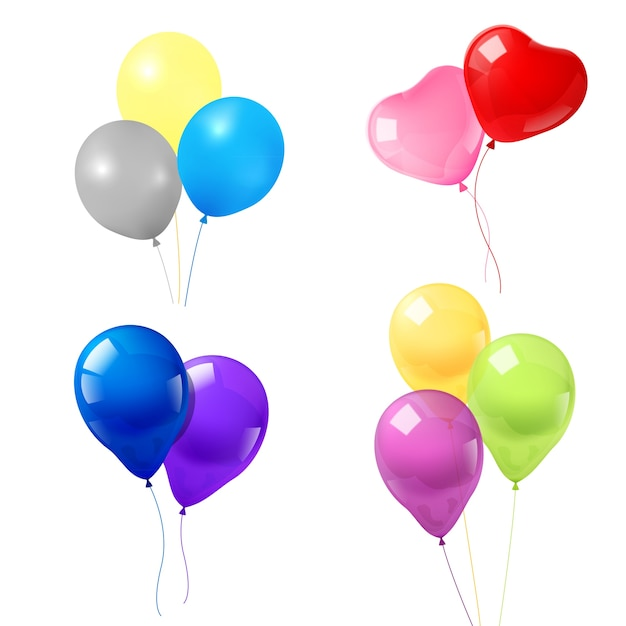 Colorful balloons icons composition Free Vector