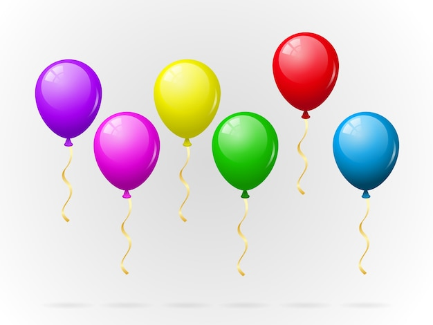 Colorful balloons pack Free Vector