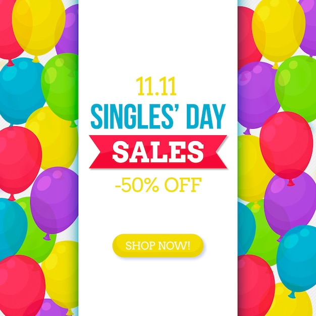 Colorful balloons singles' day banner Free Vector