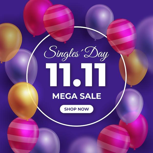Evento di palloncini colorati per single Vettore gratuito
