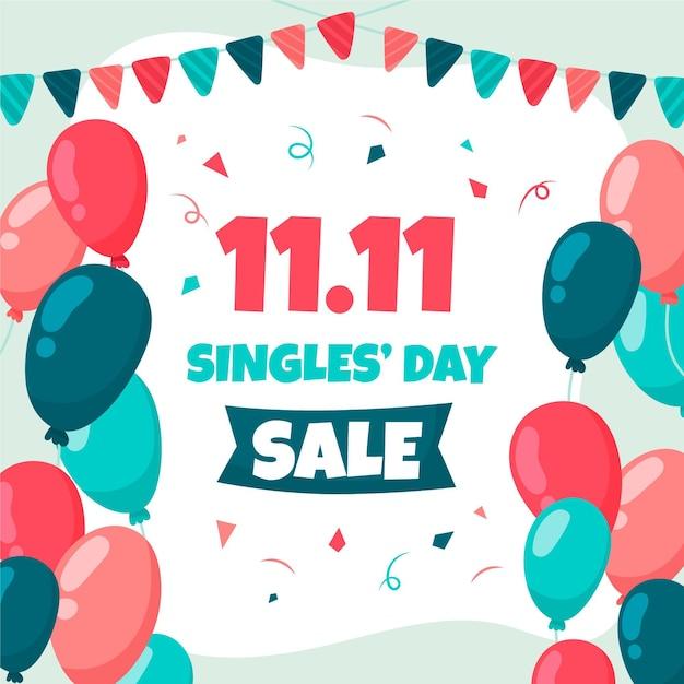 Palloncini colorati con ghirlanda per il giorno dei single Vettore gratuito