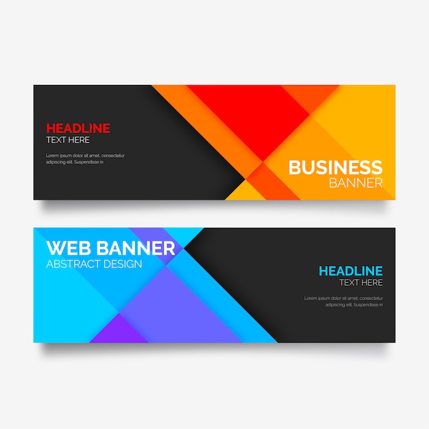 Colorful banner collection with abstract shapes Free Vector
