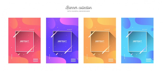 Colorful banner collection with vibrant backgrounds Free Vector