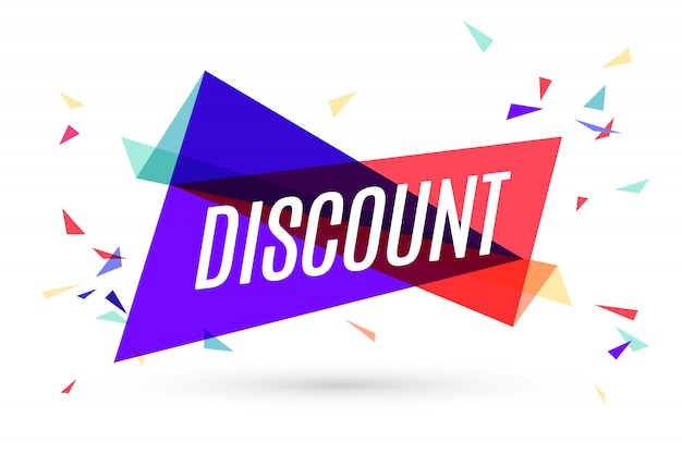 Colorful banner with text discount Premium Vector