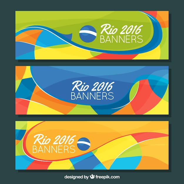 Colorful banners of brazil Free Vector