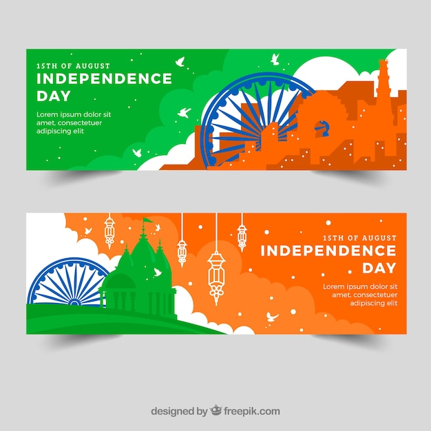 Colorful banners for indian independence day
