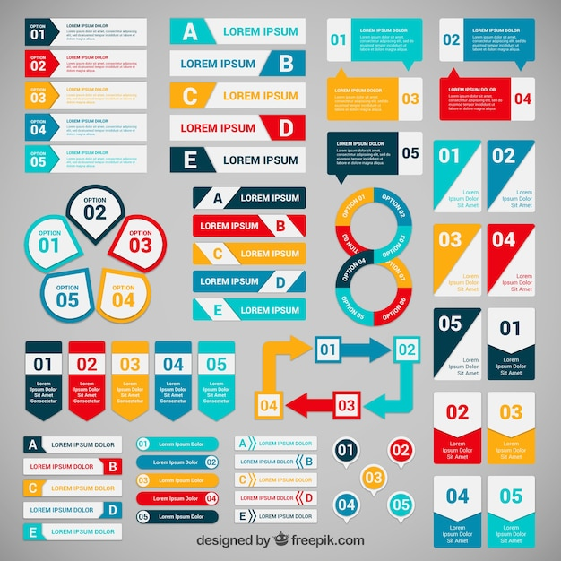 Colorful  banners for infographic Free Vector