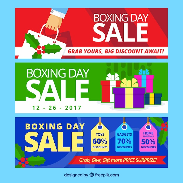 Colorful banners of boxing day sales