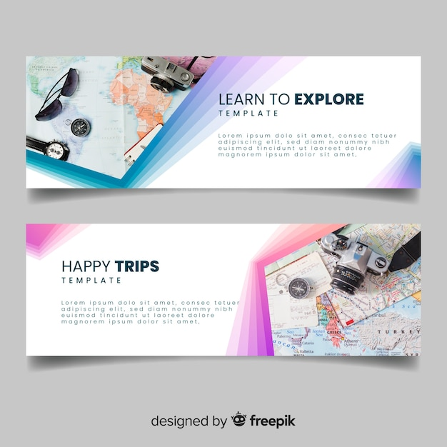 Colorful banners for travelling adventure with photo Free Vector