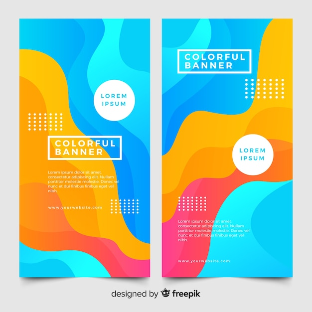 Colorful banners with abstract shapes Free Vector
