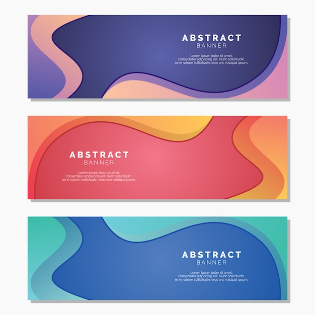 Colorful banners with abstract template Premium Vector
