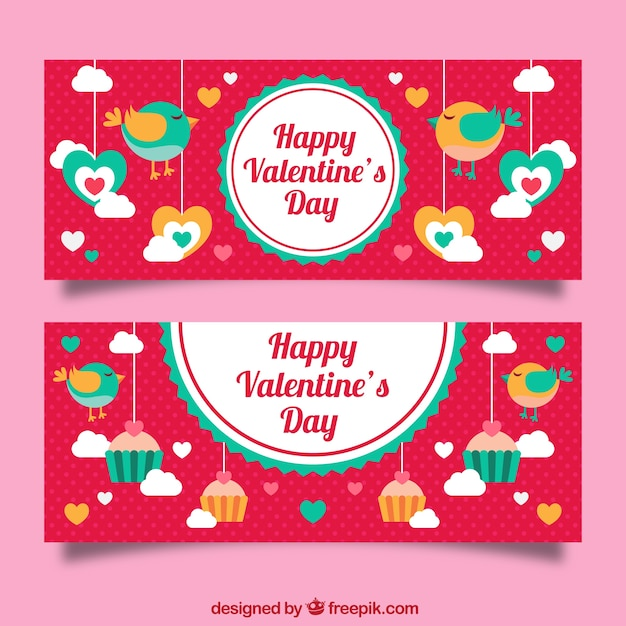 Colorful banners with birds and cupcakes for\ valentine\'s day