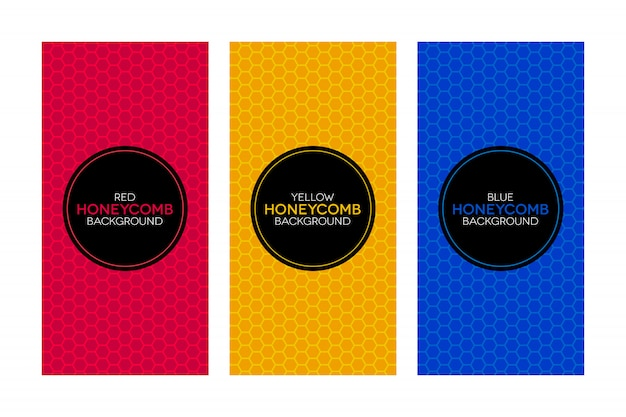 Colorful banners with honeycomb textures Premium Vector