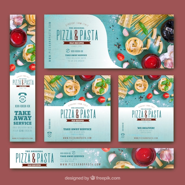 Colorful banners with italian food Free Vector