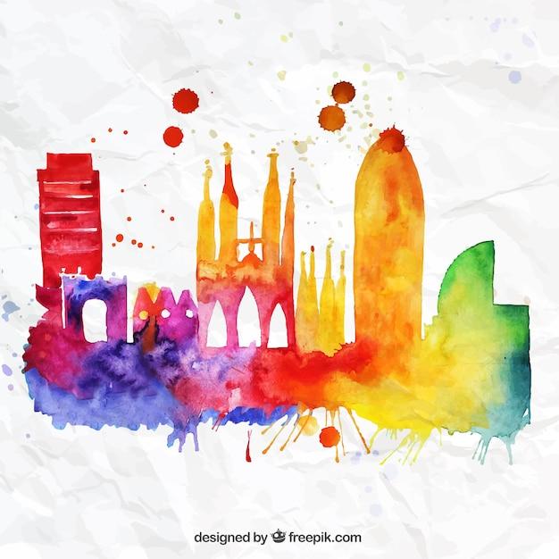Colorful Barcelona skyline Free Vector