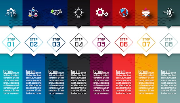 Colorful bars with business icon infographic Premium Vector