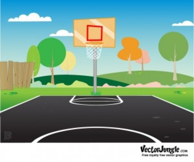 Colorful basketball court with trees\ background