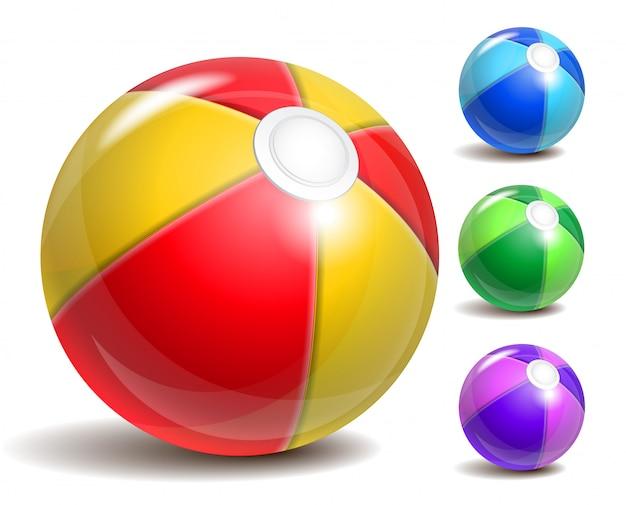 Colorful beach ball, symbol of summer fun at the pool or seaside. Premium Vector