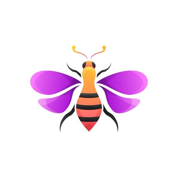 Colorful bee modern illustration Premium Vector