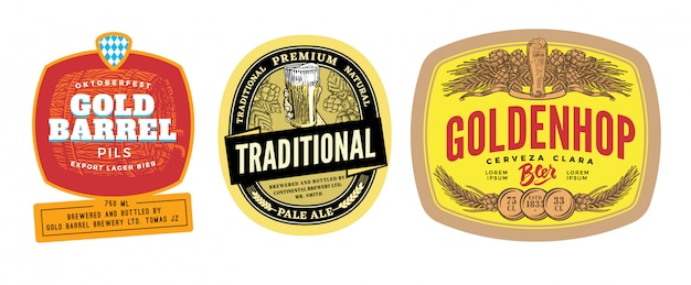 Set di etichette di birra colorate Vettore gratuito