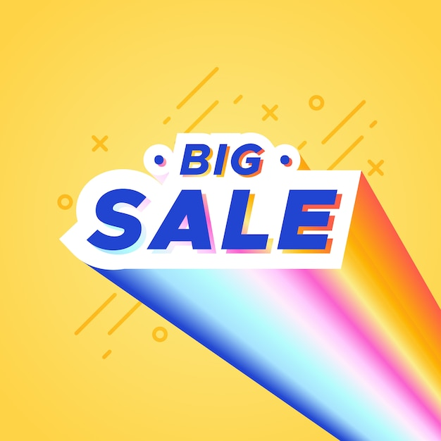 Colorful big sale banner with rainbow Free Vector