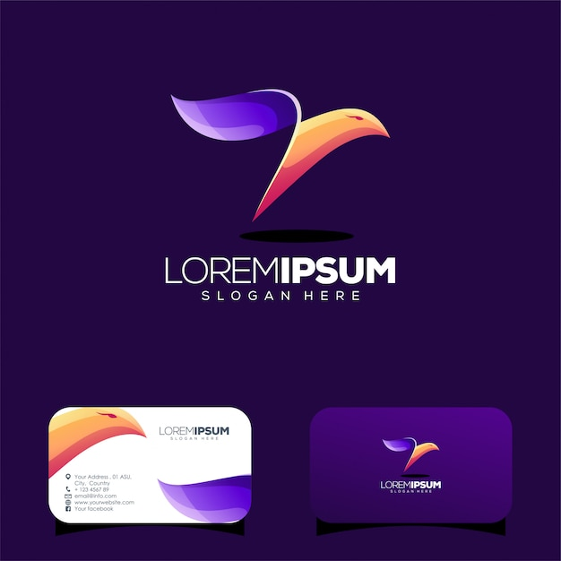 Colorful bird logo design and business card template Premium Vector