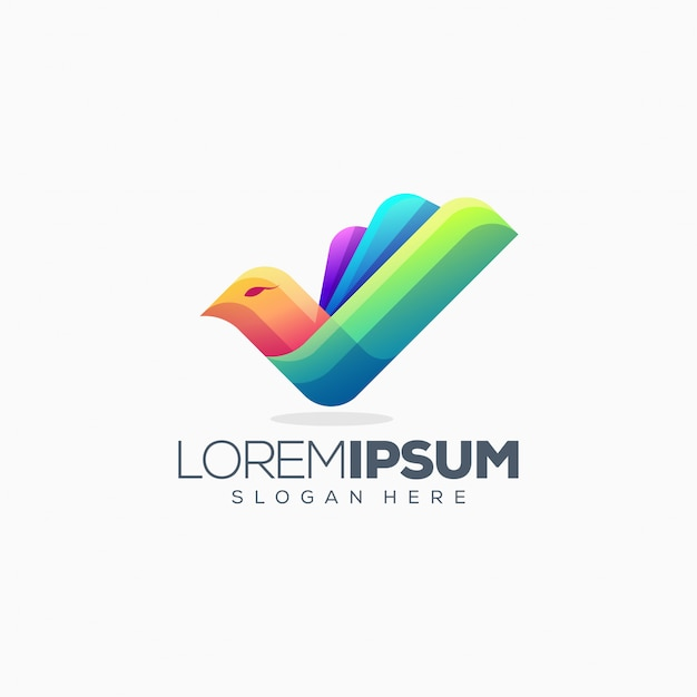 Colorful bird logo design vector illustration Premium Vector