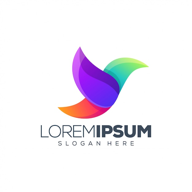 Colorful bird logo Premium Vector