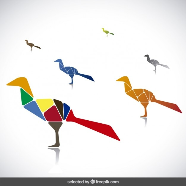 Colorful birds collection made with\ polygons