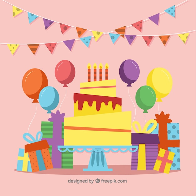 Colorful birthday background with flat deisng Free Vector