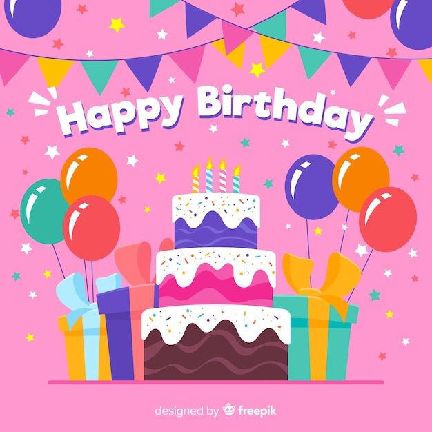 Colorful birthday background with gifts and cake Free Vector