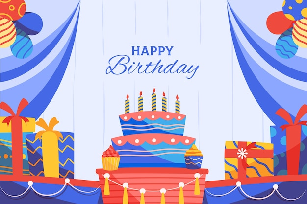 Colorful birthday background with presents and cake Free Vector