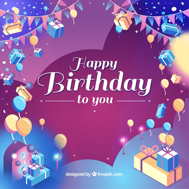 Colorful birthday background with realistic style Free Vector