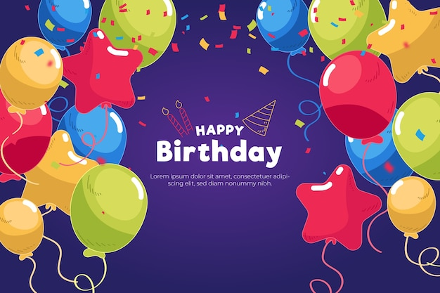 Colorful birthday background Free Vector