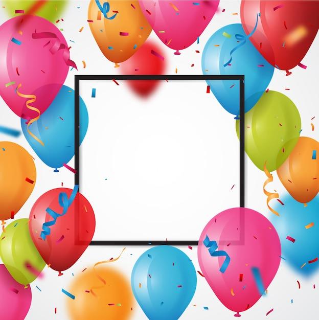 Colorful birthday balloon with confetti background Premium Vector