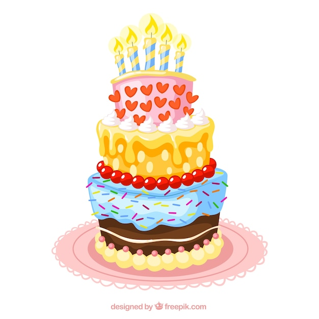 Colorful birthday cake illustration Vector Free Download