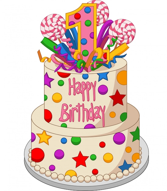 Colorful birthday cake on a white background Premium Vector