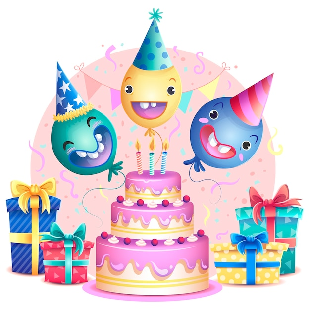 Remarkable Colorful Birthday Cake With Balloons Concept Free Vector Funny Birthday Cards Online Alyptdamsfinfo