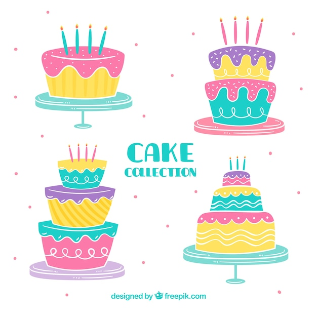 Tremendous Colorful Birthday Cakes Free Vector Funny Birthday Cards Online Fluifree Goldxyz