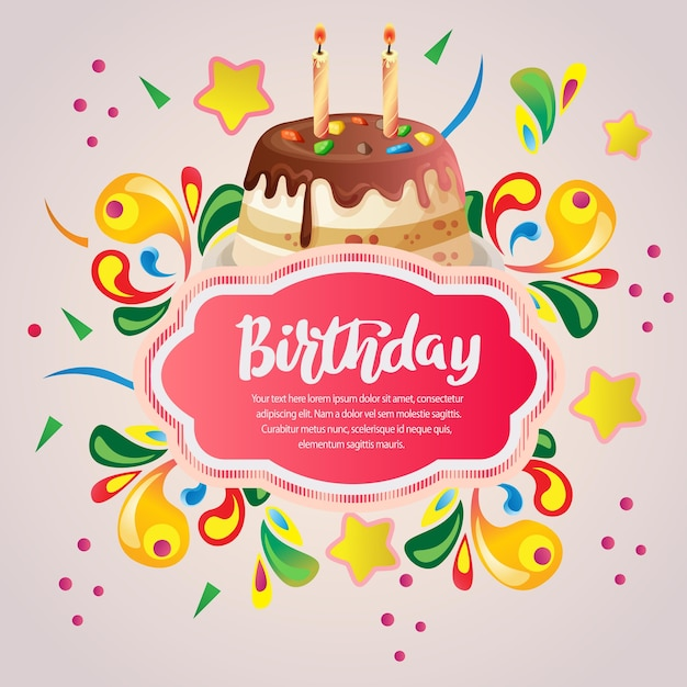 Colorful Birthday Card With Birthday Cake Vector Premium Download