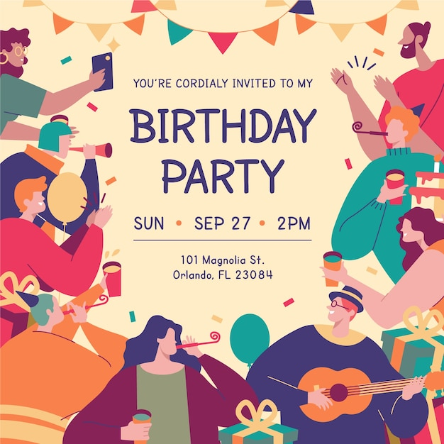 Colorful birthday card with different characters illustrated Premium Vector