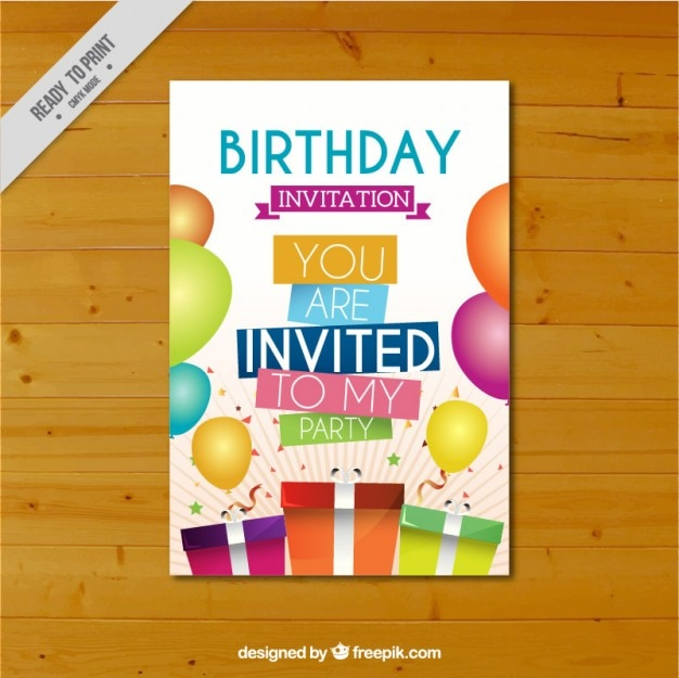 Colorful birthday card with gifts