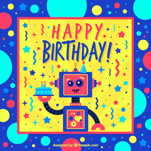 Colorful birthday card with robots