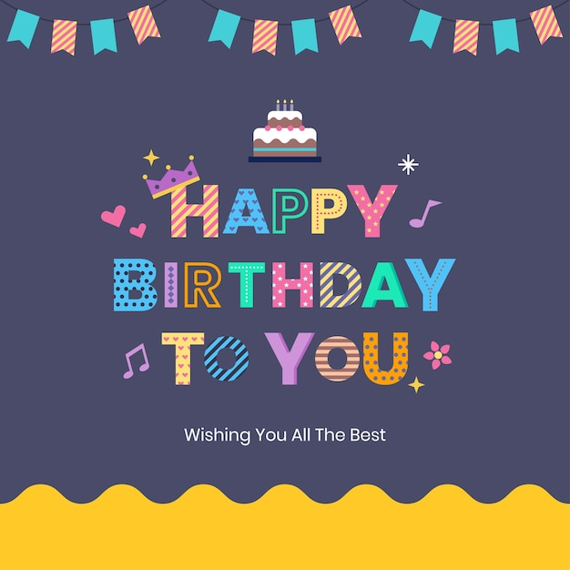 Colorful birthday card Premium Vector