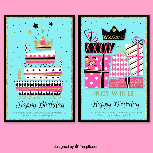 Colorful Birthday Cards With Cake And Gifts Stock Images Page