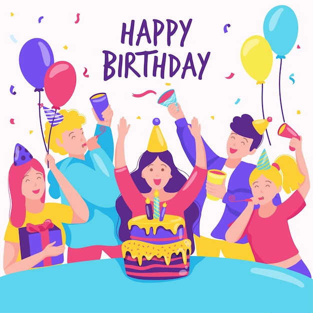 Colorful birthday celebration Free Vector