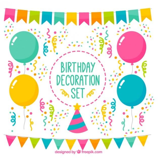 Colorful birthday decoration set Free Vector